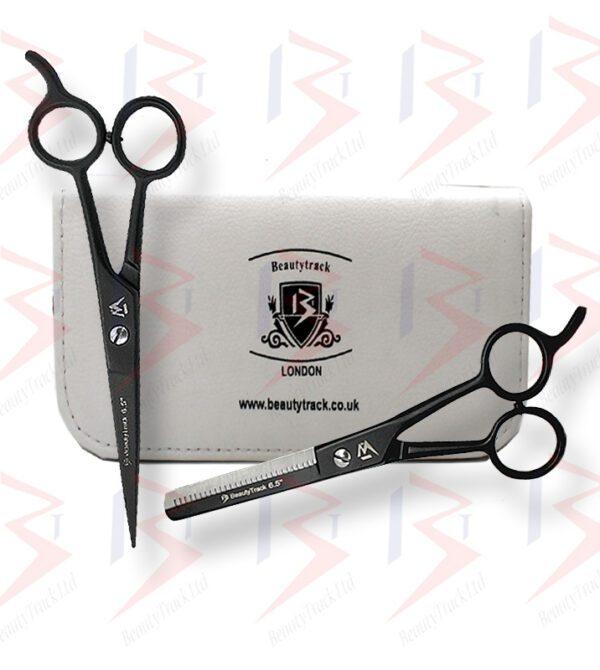 BeautyTrack Barber Scissors Set Basic Hair Cutting Shears 6.5 Inch Black