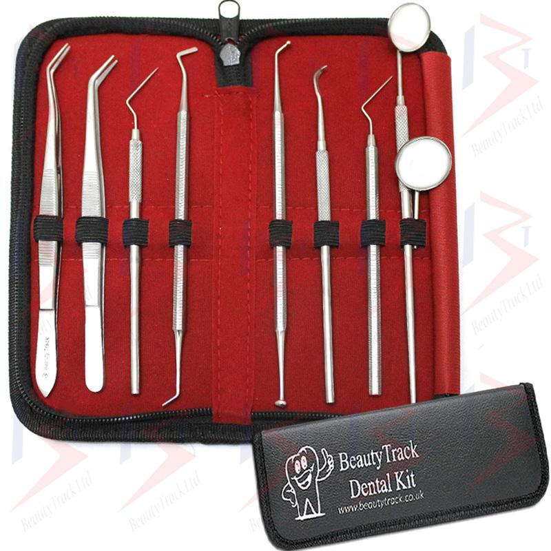 BeautyTrack Dental Pick Floss Tweezers Tooth Scraper Mirror Set 1