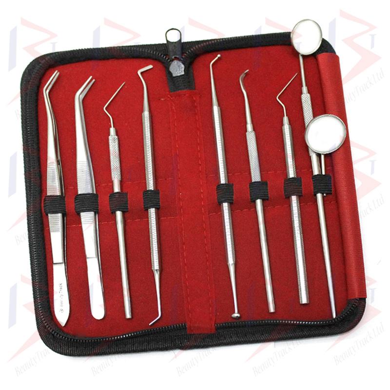 BeautyTrack Dental Pick Floss Tweezers Tooth Scraper Mirror Set 2