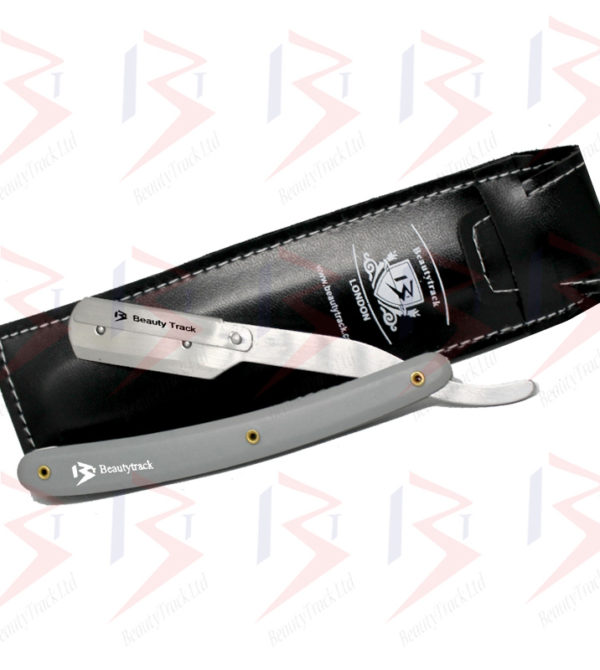 BeautyTrack Barber Salon Straight Cut Throat Wet Shaving Razor Grey 1