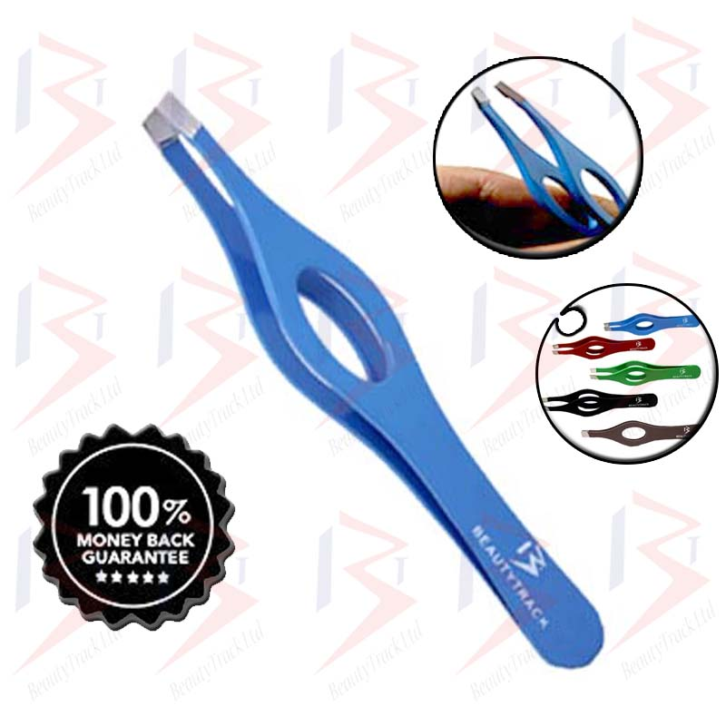 BeautyTrack Eyebrow Tweezers Slanted Hair Beauty Tweezer Blue