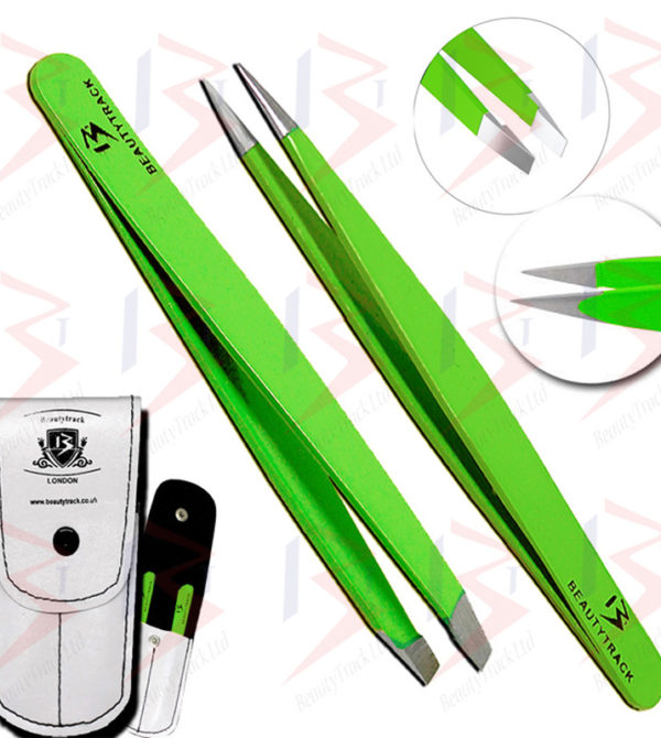 BeautyTrack Tweezers Set Hair Beauty Eyebrow Eyelashes Tweezer Parrot Green