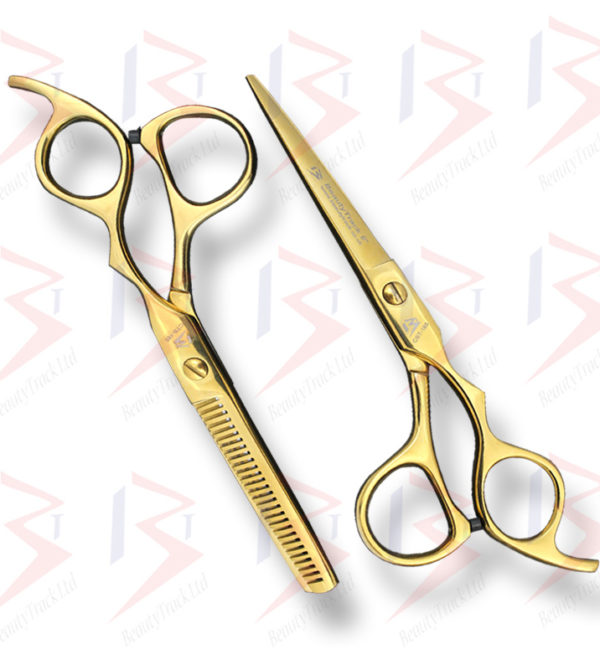 BeautyTrack Hairdressing Scissors Set Cobra Style Shears Gold 6.0 Inch